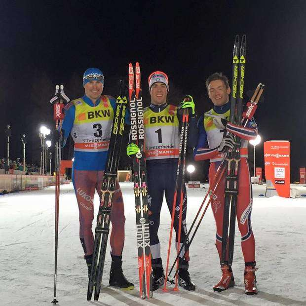 Il podio della Sprint di Lenzerheide al Tour de Ski (foto FB Fis Cross Country Skiing)