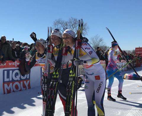 Bjoergen, Weng e Nilsson podio della Pursuit di Quebec City (foto fb fis)