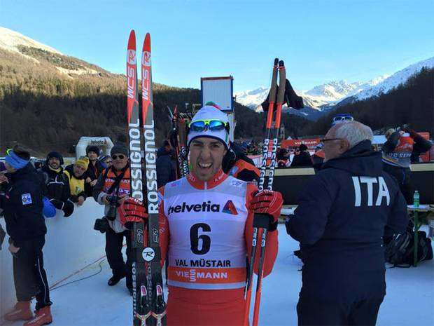 Federico Pellegrino vince la sprint della Val Mustair del Tour de Ski (Foto FB fis cross country)