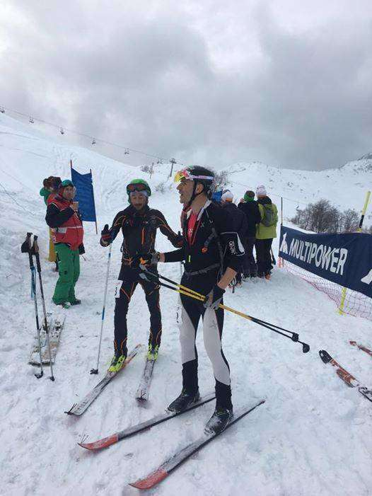 Franco Collè e Cristian Minoggio all'arrivo del Mero Skialp (foto fb movement)