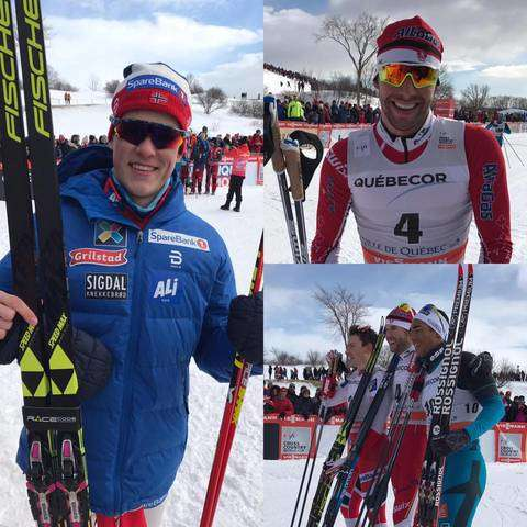 Harvey, Klaebo e il podio mashile della Sprint di Quebec City (foto fb fis cross country)