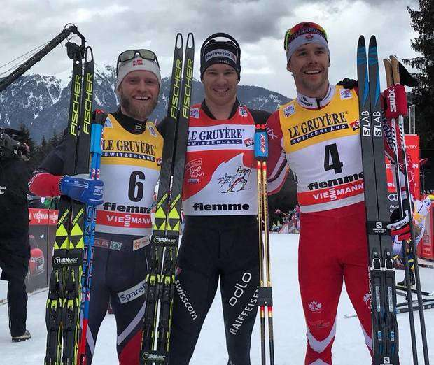 Il podio del Tour de Ski all'alpe Cermis (foto fb fis crosscountry)