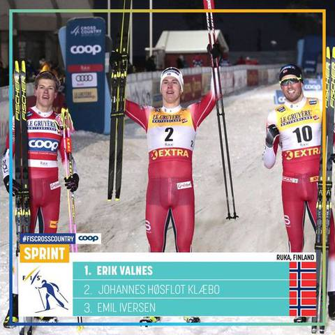 Podio Sprint Ruka Triple (foto fb fiscrosscountry)