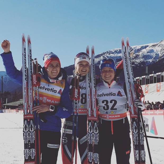 Podio femminile 15km Davos (foto fb fis cross country skiing)