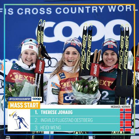 Podio femminile Mass Start Ski Tour (foto fis crosscountry skiing)