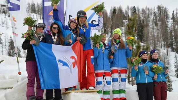 Podio femminile SBX Team Event
