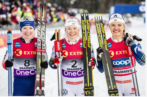Podio femminile Sprint Drammen (foto fiscrosscountry)
