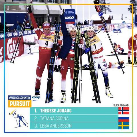 Podio femminile finale Ruka Triple (foto fb fiscrosscountry)