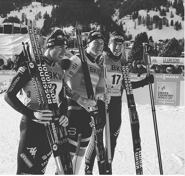 Podio maschile Sprint Coppa del Mondo Davos (foto fis crosscountry)