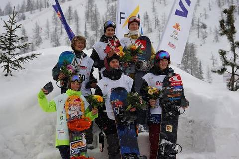 Podio maschile half pipe Mondiali junior Valmalenco