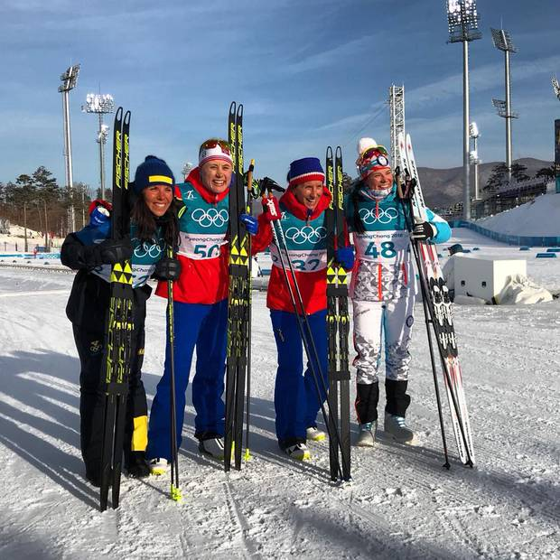 Podio olimpico 10km femminile (foto fb fis crosscountry)