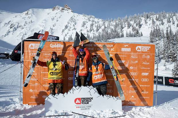 Podio sci maschile Freeride World Tour Canada (foto FWT)