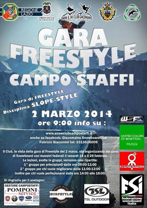 Volantino gara di Slope Style a Campo Staffi-Filettino (FR)